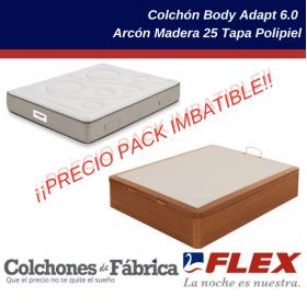 Pack ahorro colchón FLEX Body Adapt 6.0 más arcón canapé abatible FLEX Madera 25 Tapa Polipiel en oferta