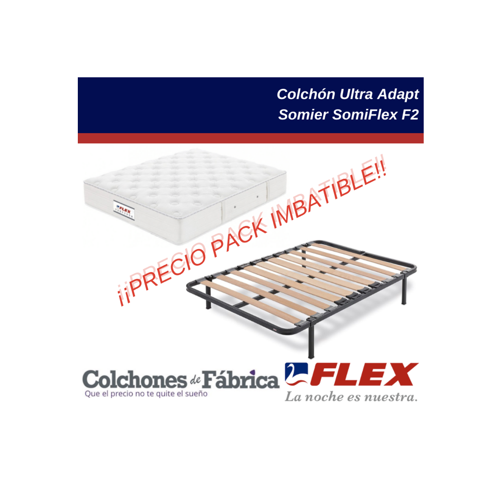 Pack ahorro colchón FLEX Ultra Adapt  más somier FLEX SomiFlex F2 en oferta