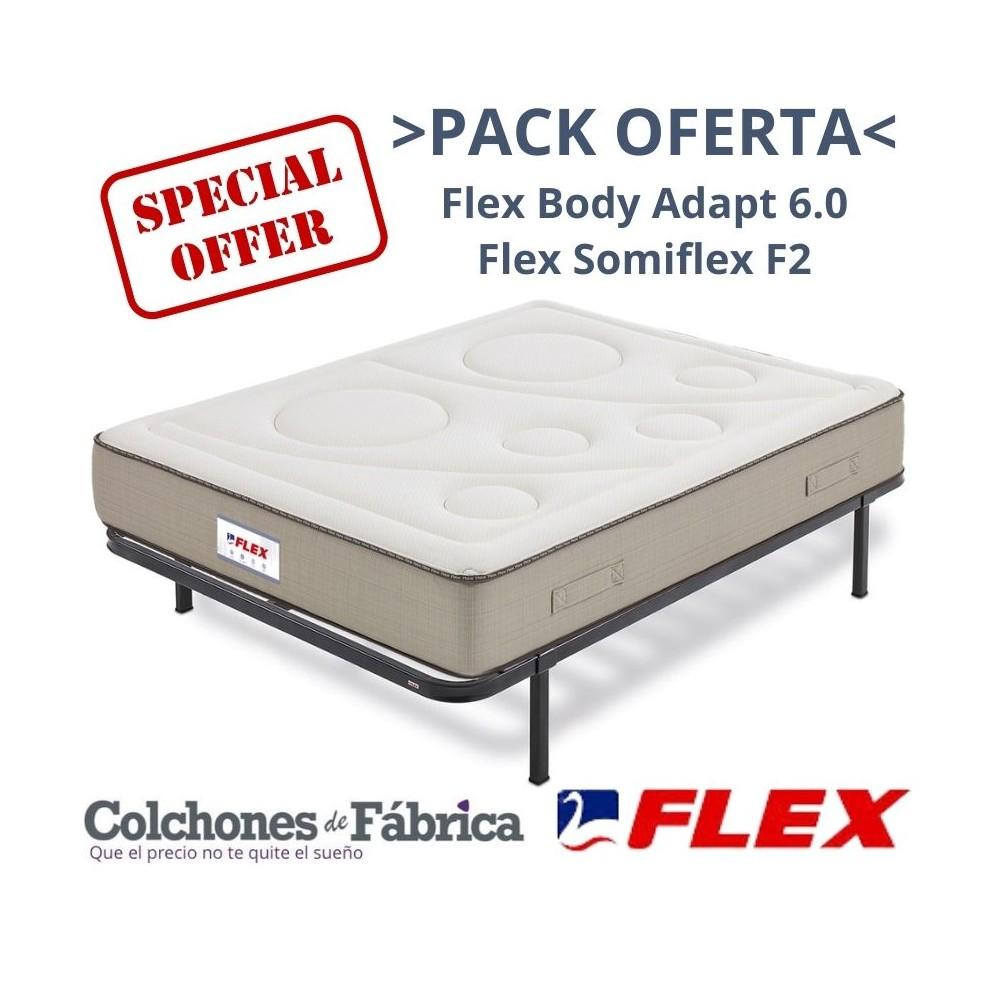 PACK COLCHÓN FLEX BODY ADAPT 6.0 + SOMIER FLEX SOMIFLEX F2