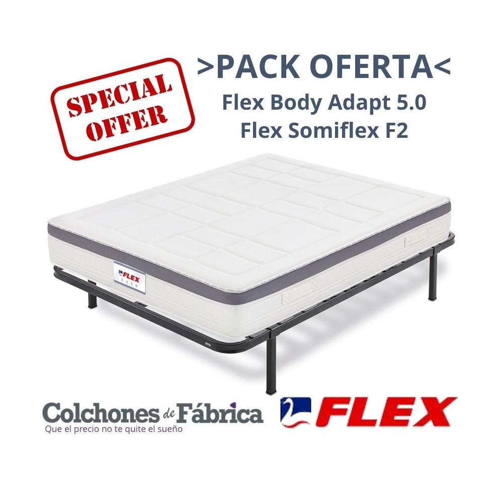 PACK COLCHÓN FLEX BODY ADAPT 5.0 + SOMIER FLEX SOMIFLEX F2