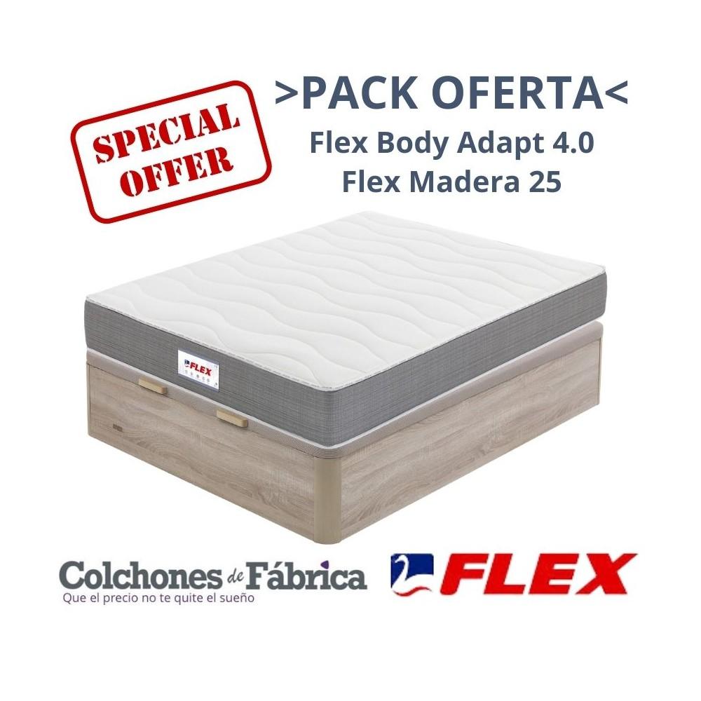 PACK COLCHÓN FLEX BODY ADAPT 4.0 + CANAPÉ FLEX MADERA 25