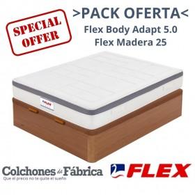 PACK COLCHÓN FLEX BODY ADAPT 5.0 + CANAPÉ FLEX MADERA 25